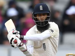 Moeen Ali reverse sweeps on his way to a quickfire half-century