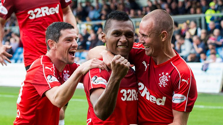 Alfredo Morelos (centre) struck twice in a morale-boosting win