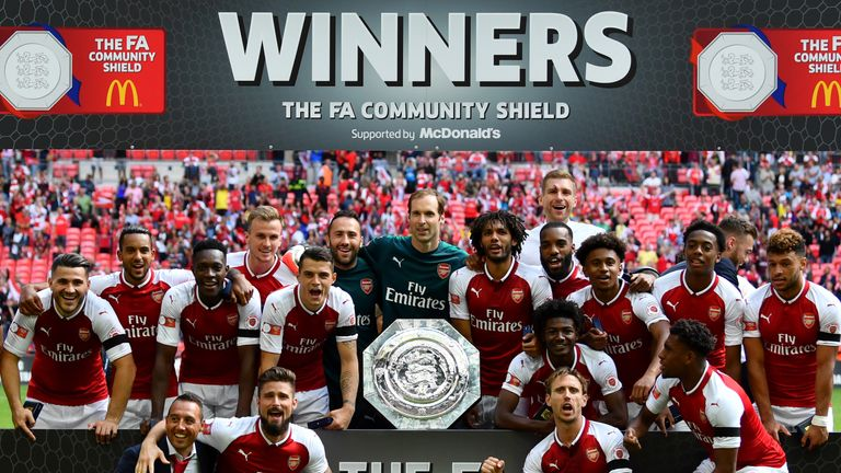 Arsenal celebrate their Community Shield triumph over Chelsea