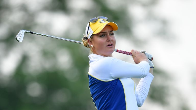 Charley Hull had her wrist taped during Friday's fourballs