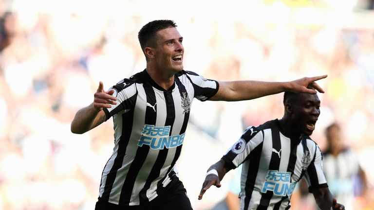 Ciaran Clark celebrates after giving Newcastle a 2-0 lead against West Ham in August