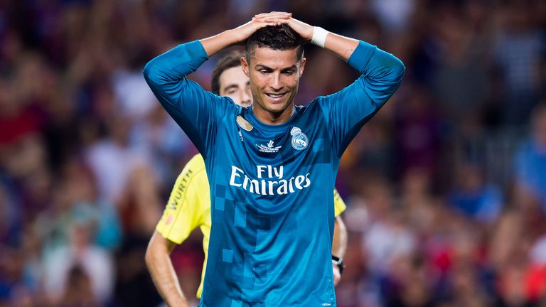 Cristiano Ronaldo was shown a red card late on in the Super Cup