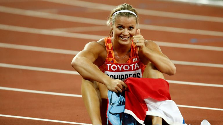 Dafne Schippers celebrates after winning gold in the women's 200 metres final