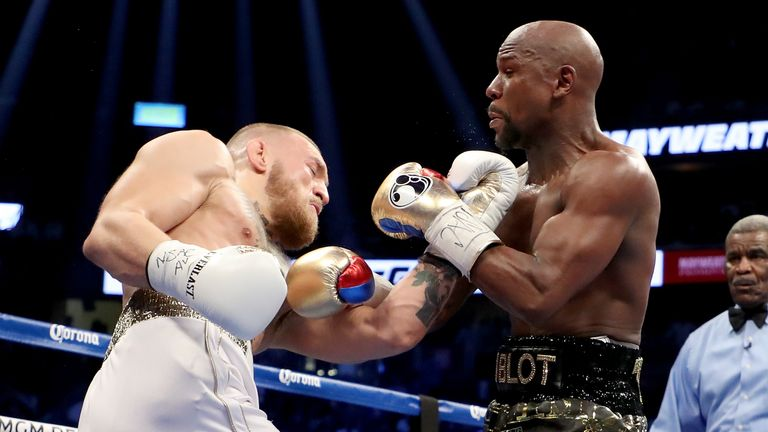 Conor McGregor took on five-weight world champion Floyd Mayweather in his first professional boxing bout