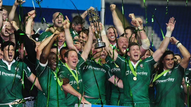 London Irish celebrate their Championship victory last season