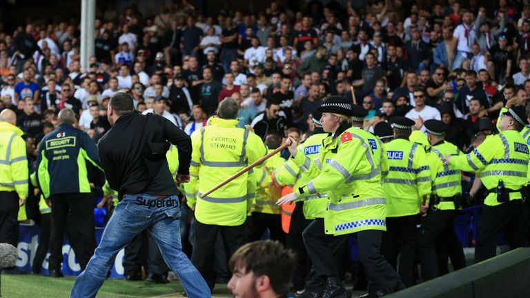 Security were needed to close around Hajduk Split supporters as they entered the Goodison Park pitch