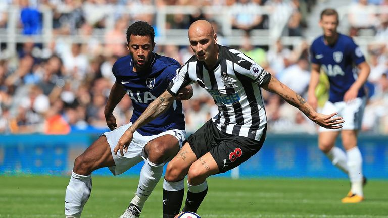 Mousa Dembele and Jonjo Shelvey in action during the Premier League match at St James' Park earlier this season