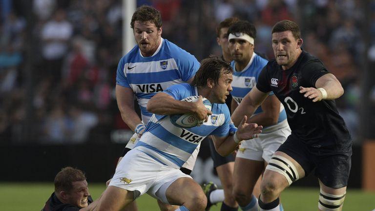 Juan Martin Hernandez on the attack for Argentina