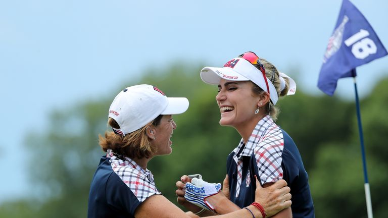 Inkster congratulates Lexi Thompson (right). who halved a brilliant match against Anna Nordqvist