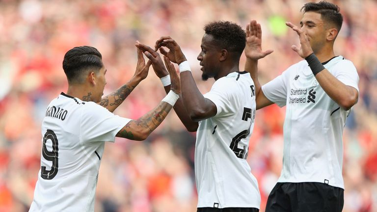 Roberto Firmino (left) celebrates after opening the scoring against Bilbao