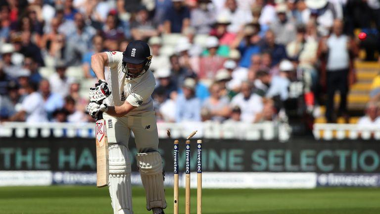 Mark Stoneman was bowled for eight on his England debut at Edgbaston