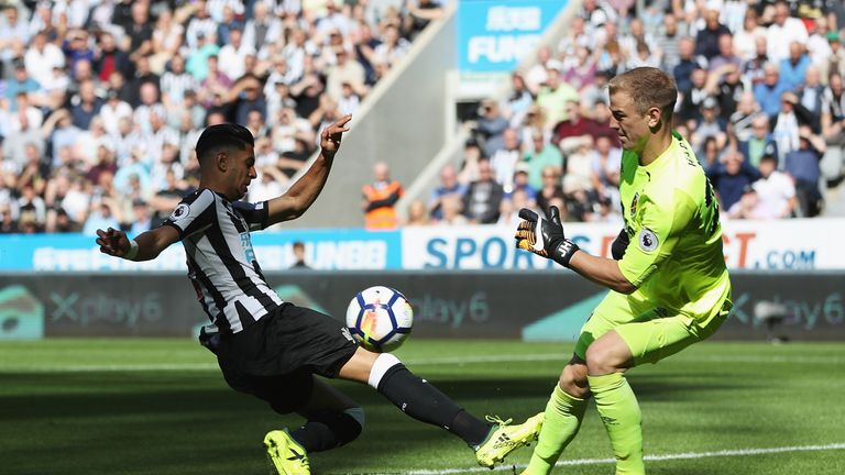 Joe Hart saves from Ayoze Perez at St James' Park