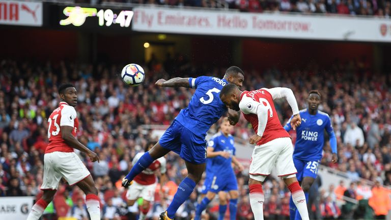 Alexandre Lacazette scores the opening goal when the teams met earlier this season