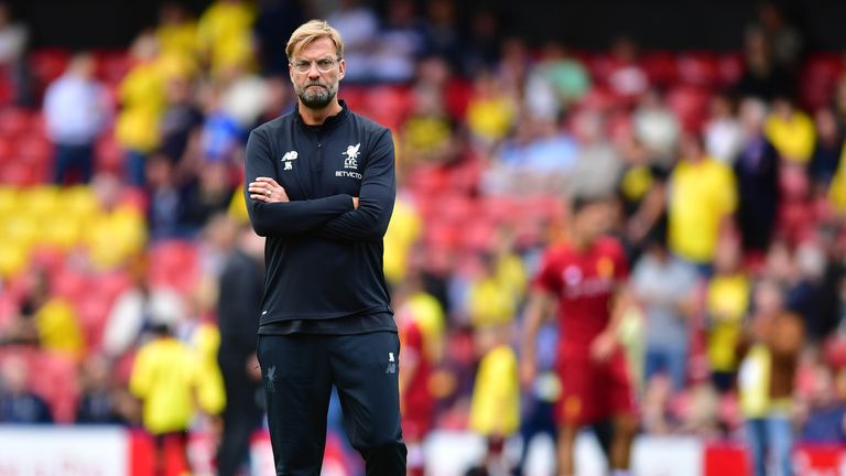 Jurgen Klopp during the warm up prior to the Premier League match between Watford and Liverpool