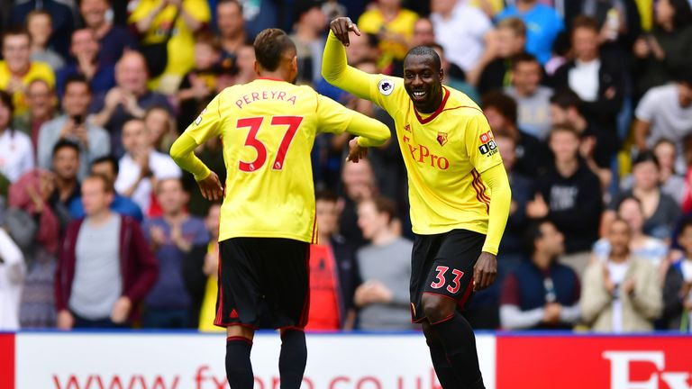 Stefano Okaka celebrates his goal against Liverpool with team-mate Roberto Pereyra