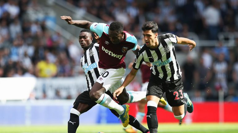 Michail Antonio looks to break through the Newcastle defence