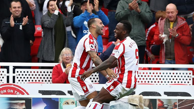 Jese celebrates his debut goal with Saido Berahino