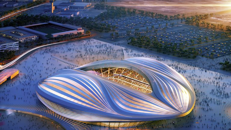 Computer-generated artist's impression of Qatar 2022 World Cup venue, the Al Wakrah stadium, in Al-Wakrah