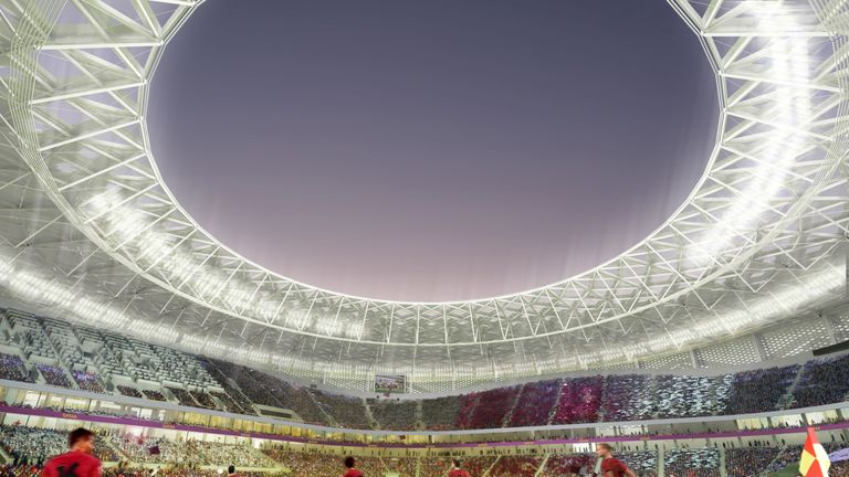 Computer-generated artist's impression of Qatar 2022 World Cup venue, the Al Thumama Stadium, in Doha