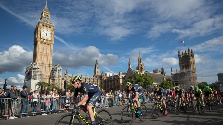 The pro peloton races through Westminster during the London-Surrey Classic