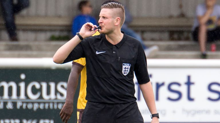 Atkin referees in the National League South and serves as fourth official at EFL level