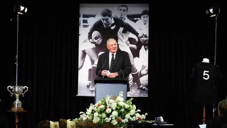 Sir Brian Lochore speaks during the funeral service for Sir Colin Meads