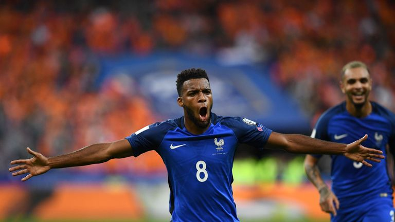 Thomas Lemar celebrates for France after scoring against Holland