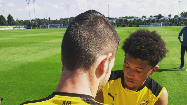 Sancho at a Dortmund training session [Credit: Sascha Bacinski]