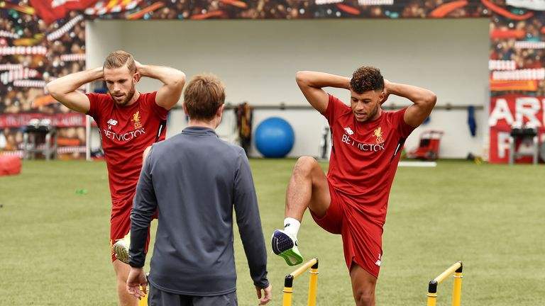 Oxlade-Chamberlain and Jordan Henderson re put through their paces by Klopp
