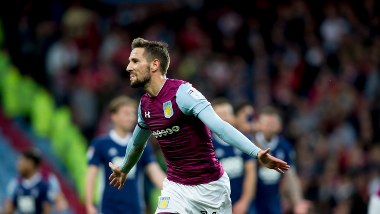 Conor Hourihane celebrates scoring Villa's second