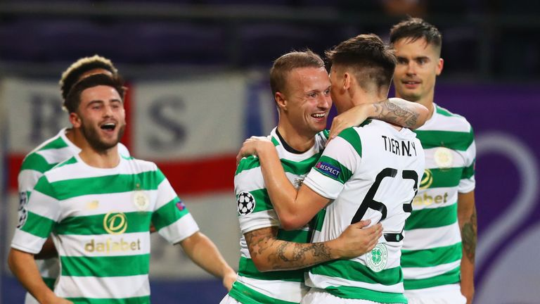 Celtic celebrate Leigh Griffiths' opening goal in Belgium
