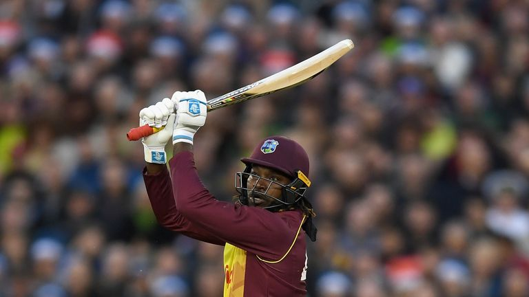 CHESTER-LE-STREET, ENGLAND - SEPTEMBER 16:  Chris Gayle of the West Indies bats during the  NatWest T20 International match between England and the West In