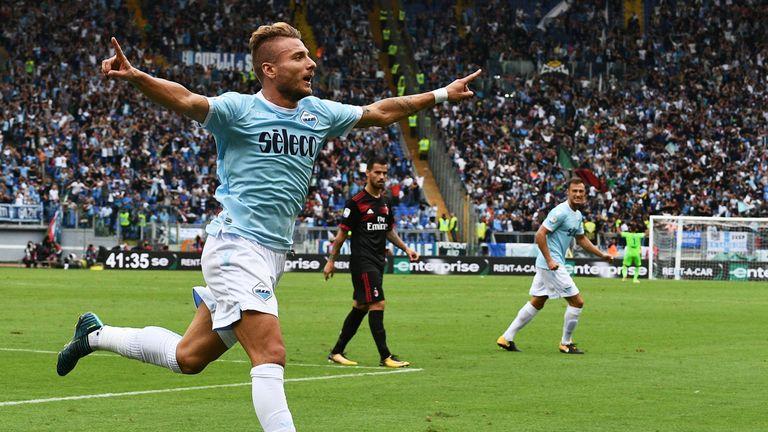 Lazio forward Ciro Immobile celebrates after scoring his second goal against Juventus
