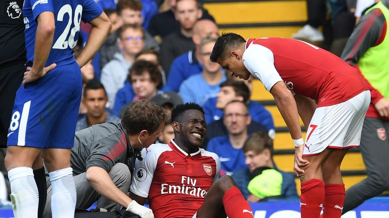 Danny Welbeck was injured during Arsenal's draw at Chelsea