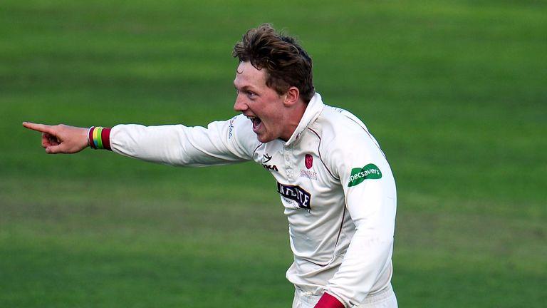 Dom Bess of Somerset celebrates after dismissing Shiv Chanderpaul of Lancashire