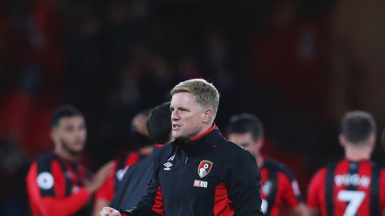 Eddie Howe celebrates after Bournemouth's first Premier League win of the season