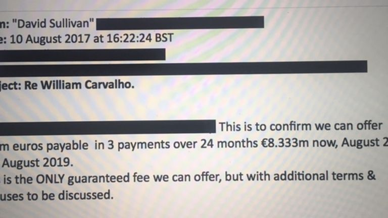 The club sent an initial email telling Sporting of their intention to make an offer