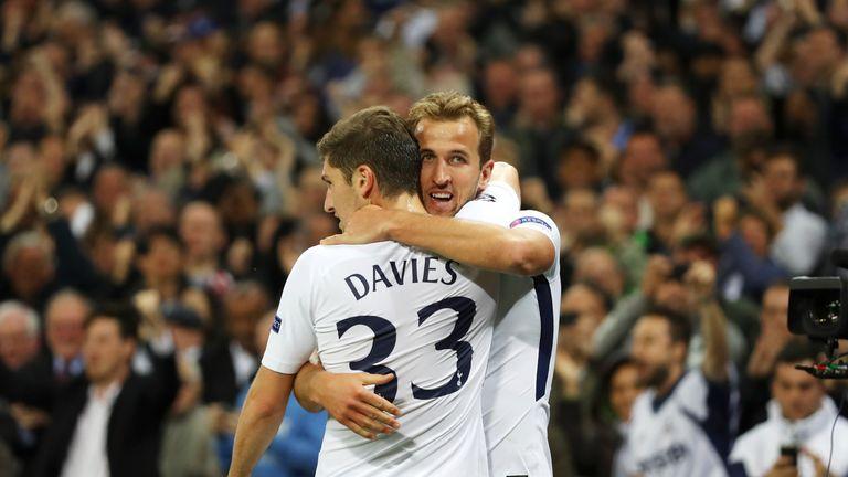 Harry Kane celebrates with team-mate Davies