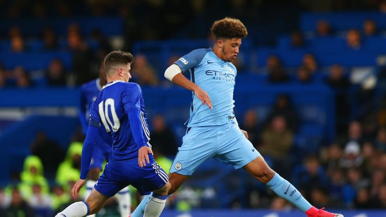 Sancho in action for Manchester City during the FA Youth Cup Final