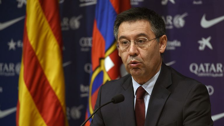Josep Maria Bartomeu said the game was played behind closed doors to show 'rejection' of what was happening