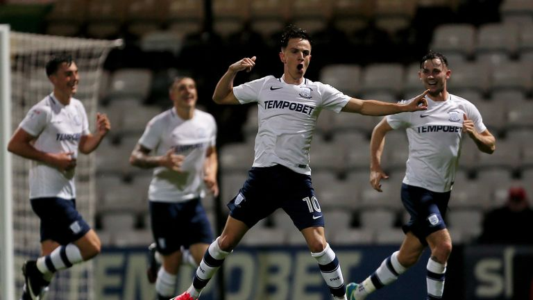 Preston North End's Josh Harrop celebrates scoring his side's first goal