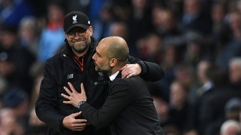 Liverpool boss Jurgen Klopp (left) and his Man City counterpart Pep Guardiola go head to head at Anfield on Super Sunday
