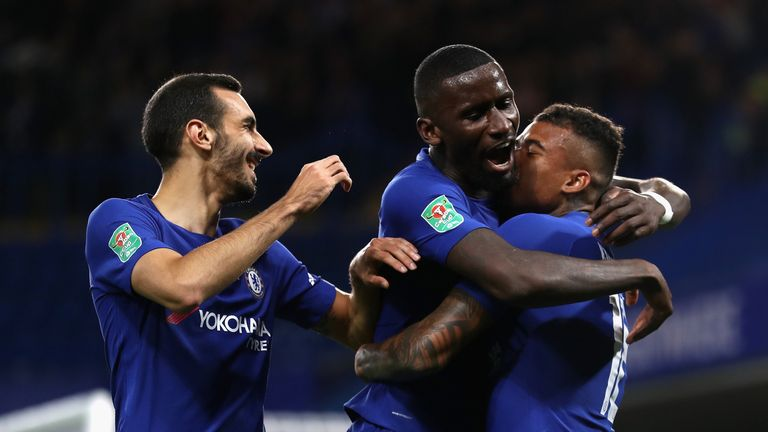 Kenedy celebrates scoring his side's first goal with Davide Zappacosta and Antonio Rudiger in the Carabao Cup tie v Nottingham Forest