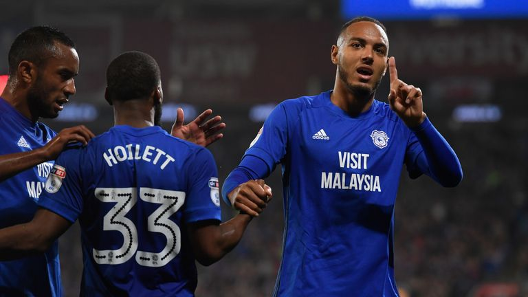 Kenneth Zohore scored twice for Cardiff on Tuesday evening