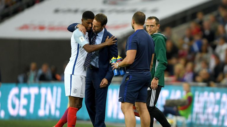 England boss Southgate says Rashford (left)  is a 'very exciting player'