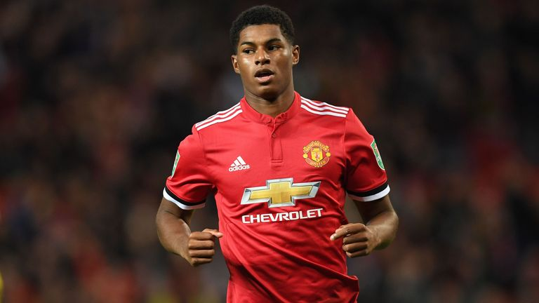 Manchester United's Marcus Rashford is available this weekend