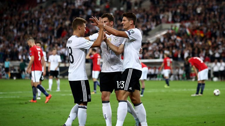 Mario Gomez celebrates during Germany's thrashing of Norway