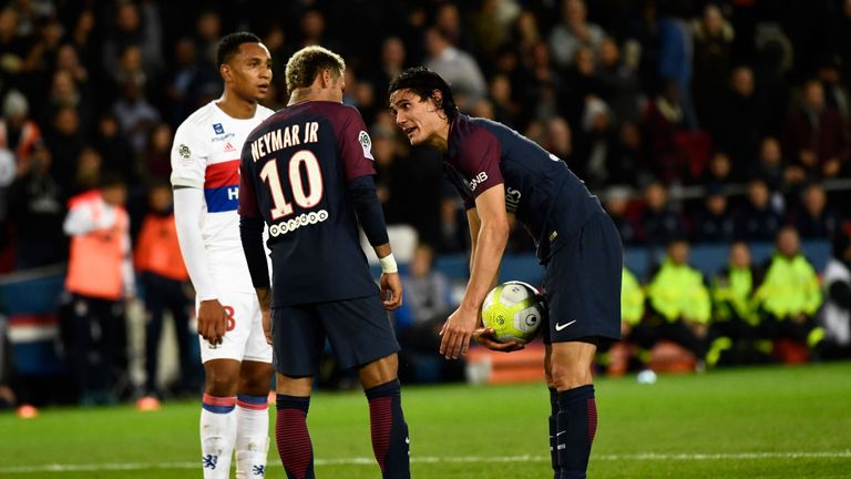 Neymar and Edinson Cavani have clashed over who takes set-pieces