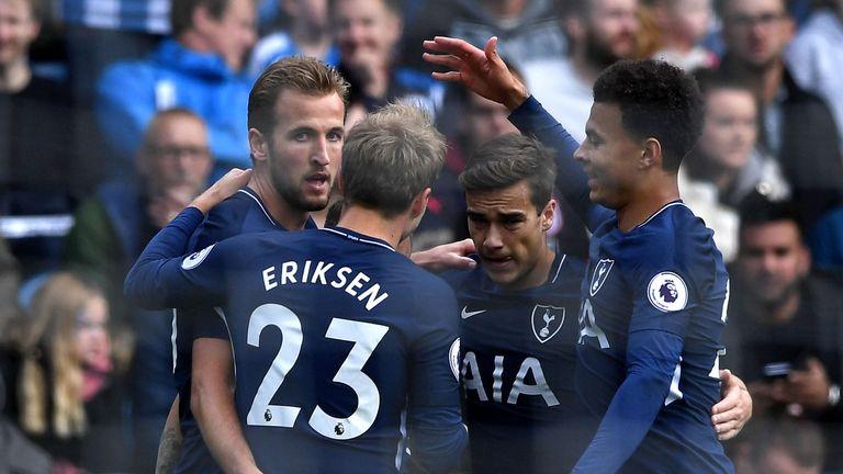 Kane celebrates scoring his sides first goal with his Tottenham Hotspur team-mates