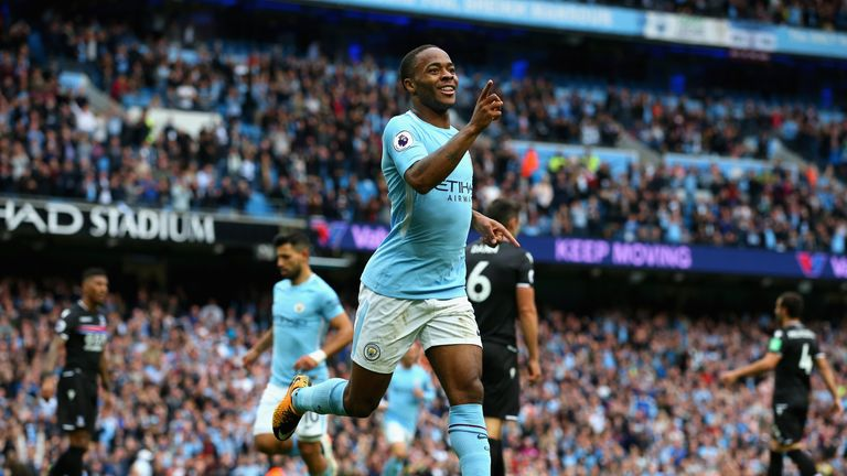 Raheem Sterling scored twice for Man City